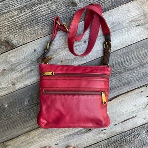 Fossil Pink Leather Crossbody Purse